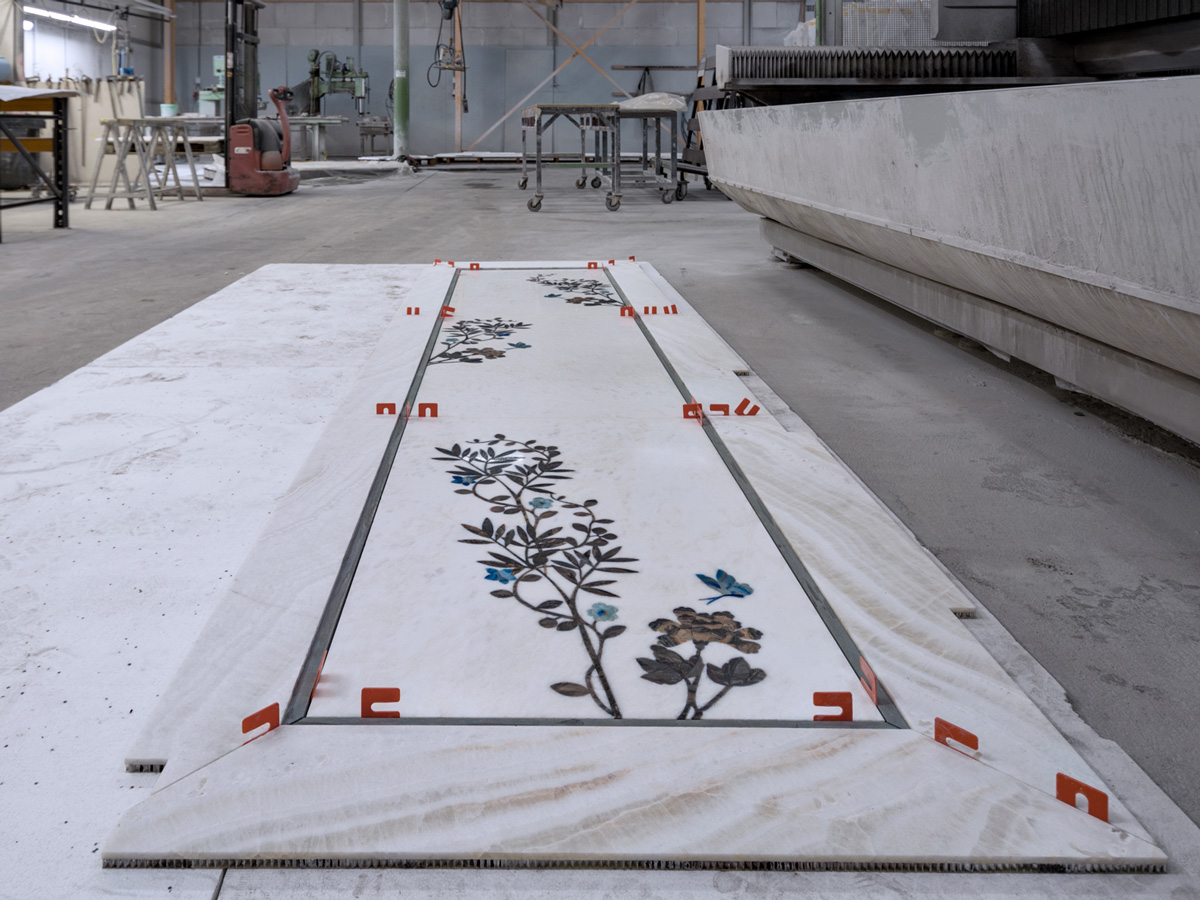 stone inlay in workshop