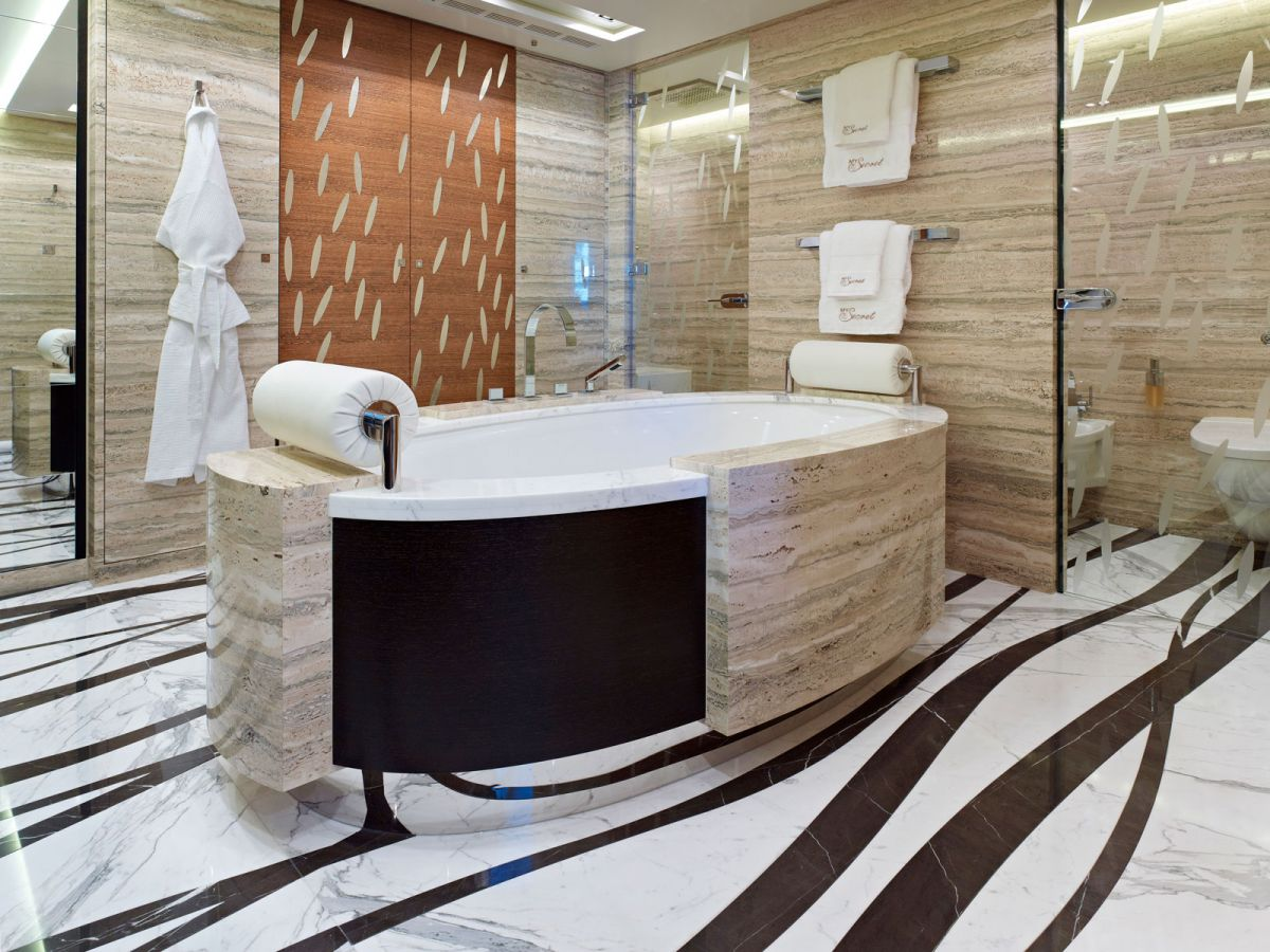 Superyacht My Secret bathroom stone inlay