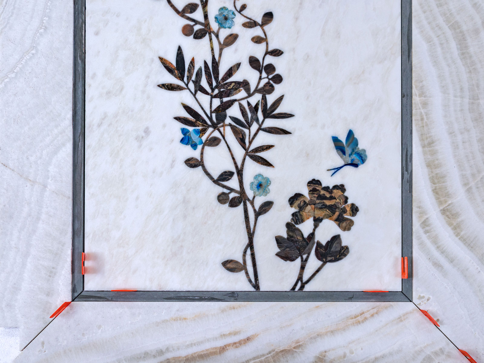 Stone inlay with flowers